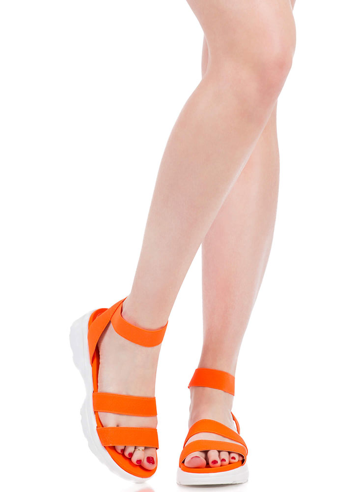 Morning Stretch Strappy Banded Sandals NEONORANGE (You Saved $13)