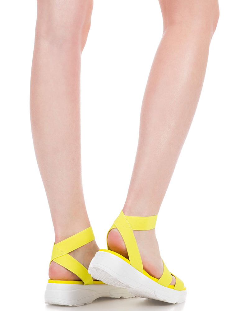 Morning Stretch Strappy Banded Sandals NEONYELLOW (You Saved $13)