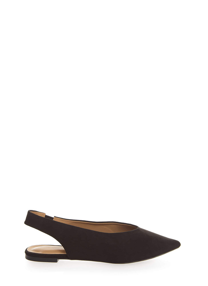 Chic Shoes Pointy Slingback Flats BLACK