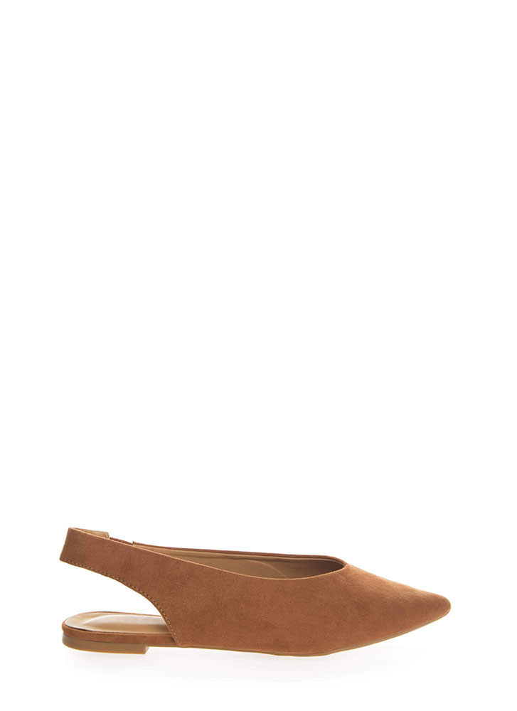 Chic Shoes Pointy Slingback Flats DKCAMEL