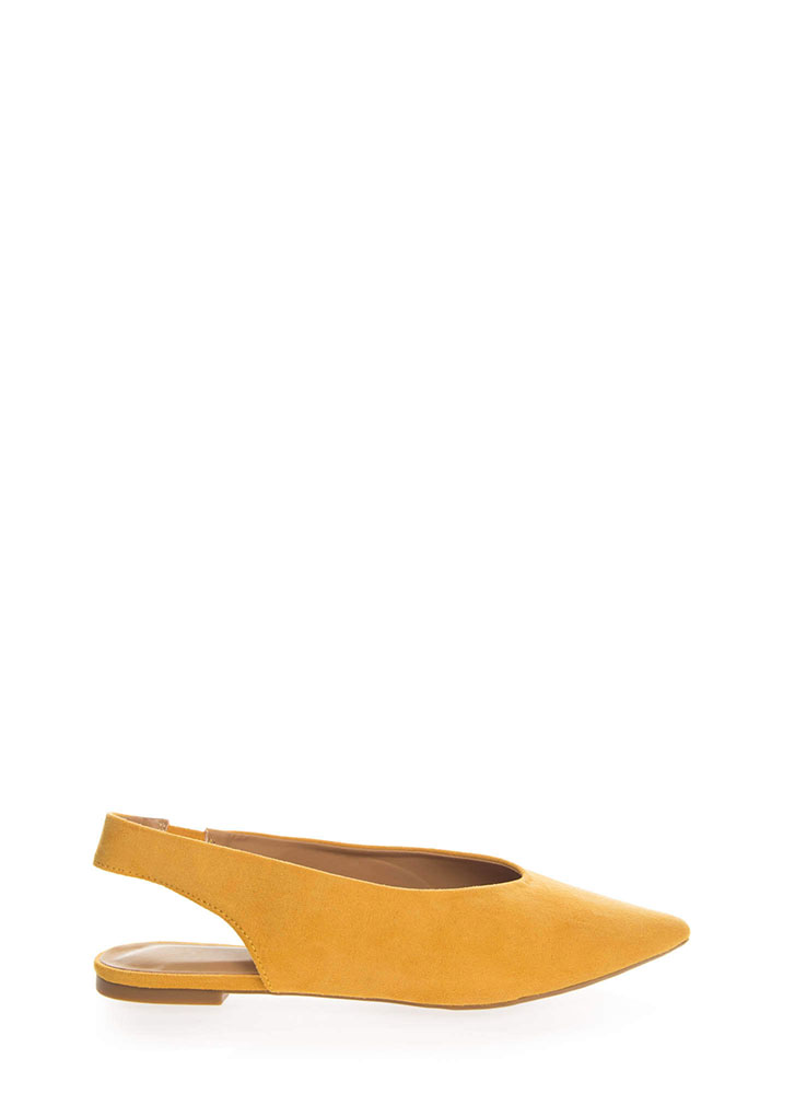 Chic Shoes Pointy Slingback Flats MARIGOLD