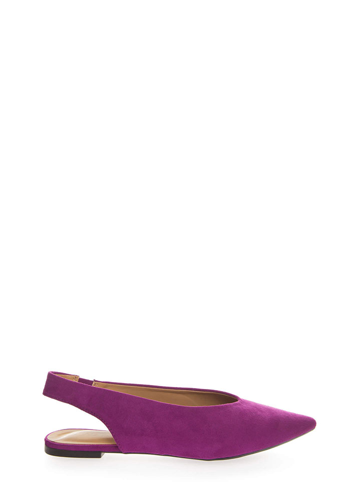 Chic Shoes Pointy Slingback Flats RASBERRY