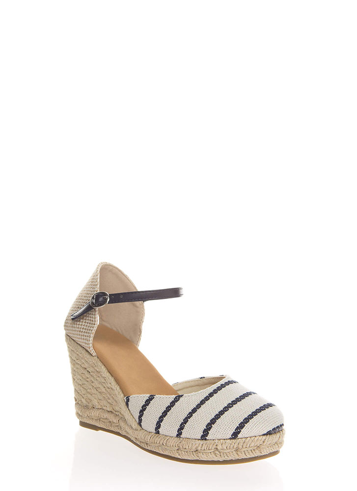 Time Off Striped Espadrille Wedges BLUE (You Saved $16)