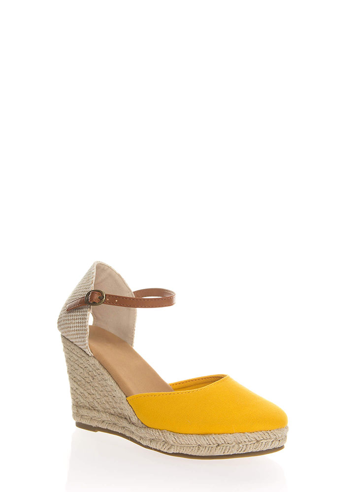 Time Off Canvas Espadrille Wedges MARIGOLD (You Saved $16)
