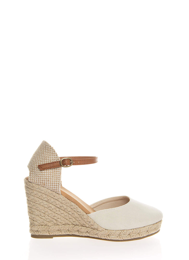 Time Off Linen Espadrille Wedges NATURAL (You Saved $16)