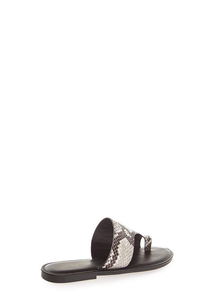 Toe Up Asymmetrical Faux Snake Sandals BLACK