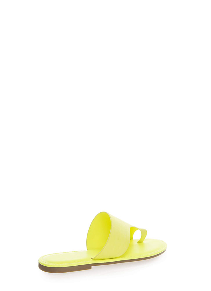 Toe Up Asymmetrical Faux Suede Sandals NEONYELLOW