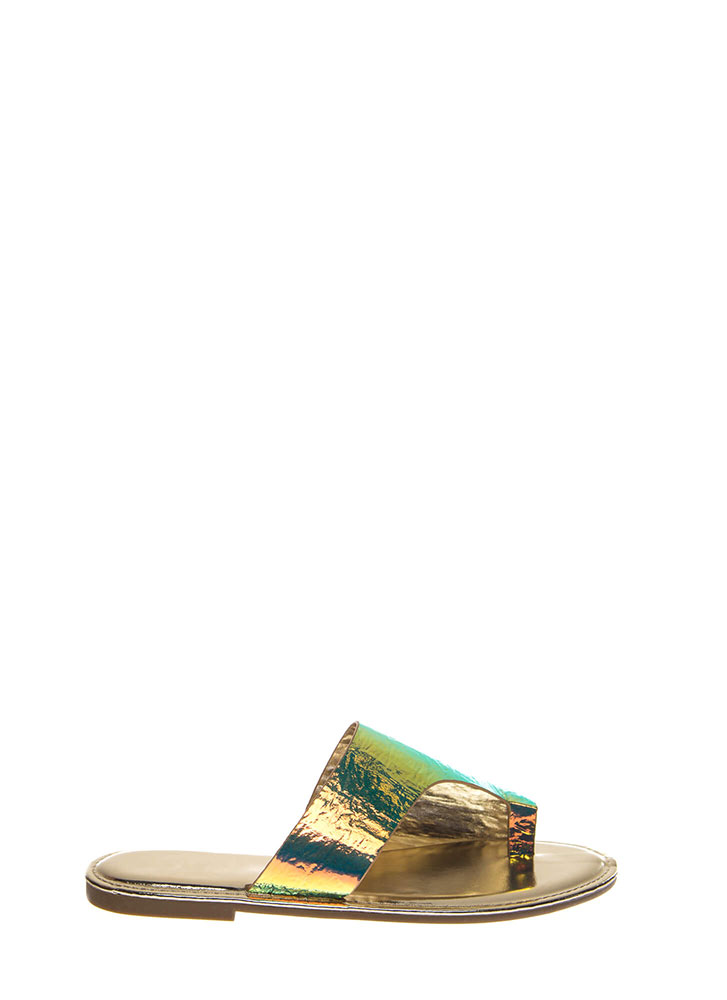Toe Up Asymmetrical Holographic Sandals UNICORN