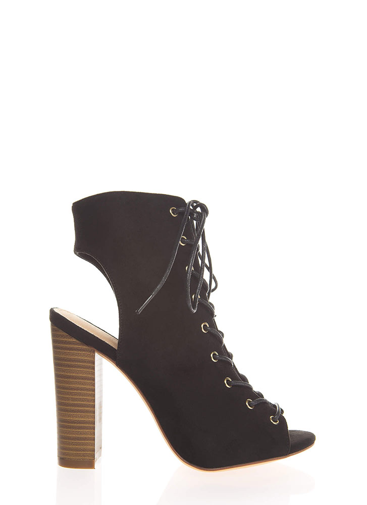 Warm Up Chunky Backless Lace-Up Booties BLACK (You Saved $25)