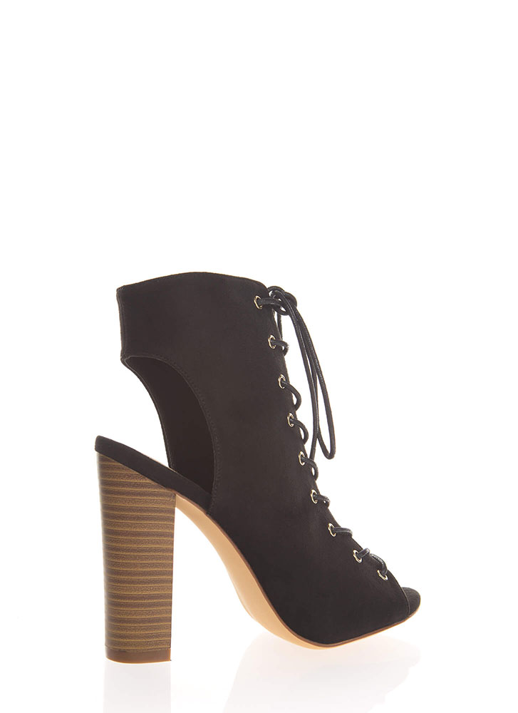 Warm Up Chunky Backless Lace-Up Booties BLACK