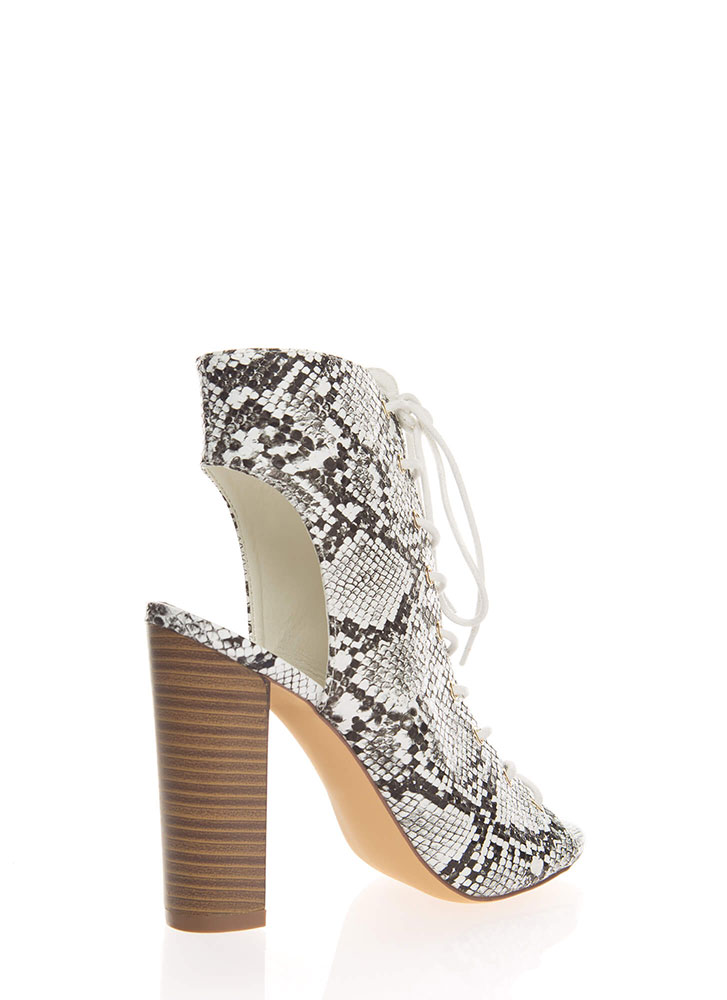 Warm Up Chunky Backless Lace-Up Booties SNAKE