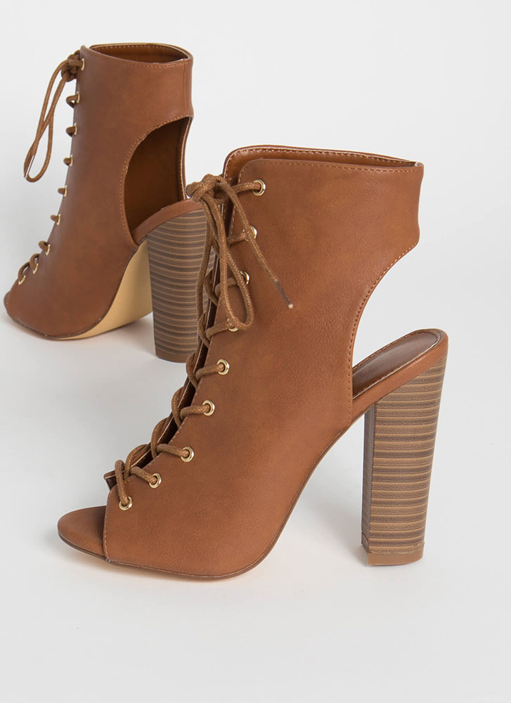 Warm Up Chunky Backless Lace-Up Booties TAN