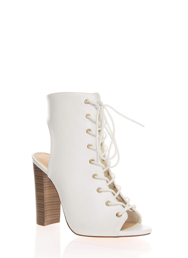 Warm Up Chunky Backless Lace-Up Booties WHITE