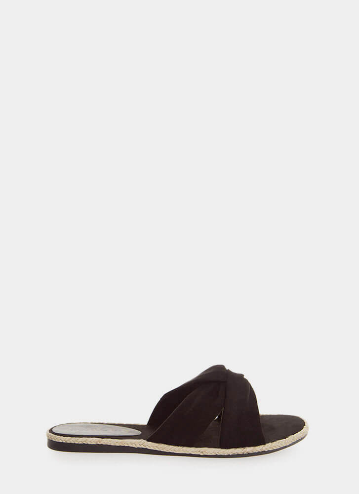 Vacay Braided Knotted Slide Sandals BLACK