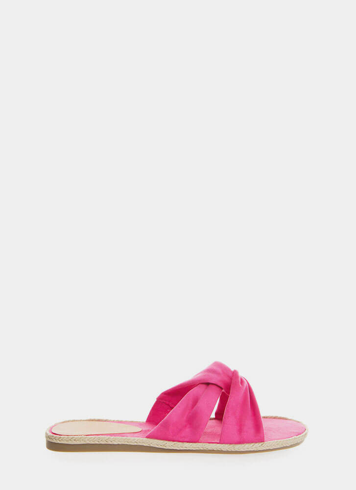 Vacay Braided Knotted Slide Sandals FUCHSIA