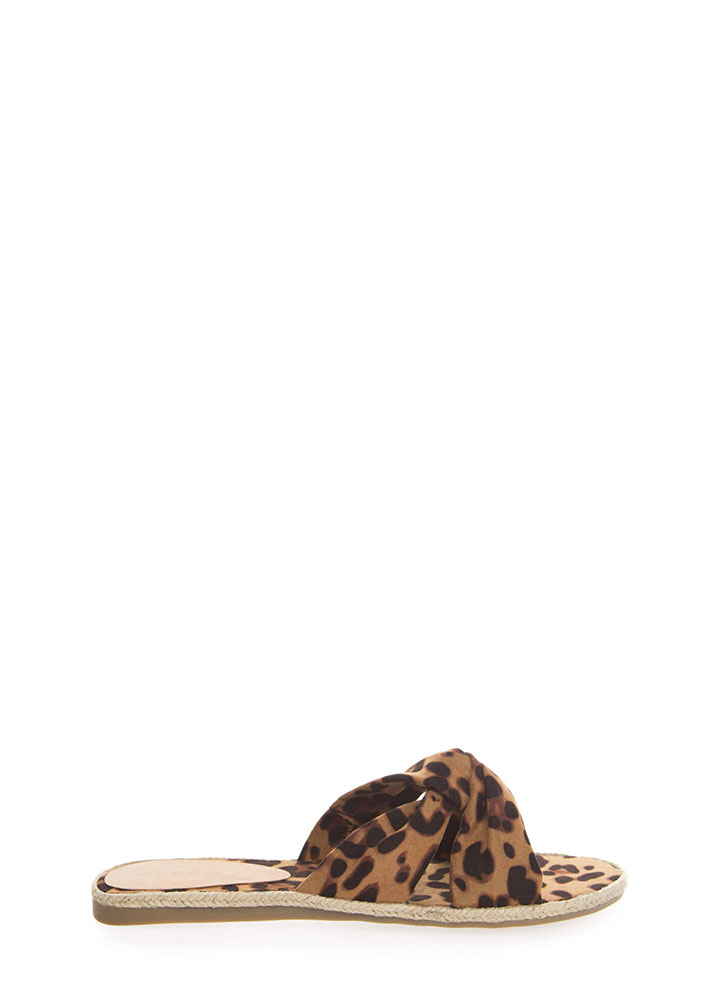 Vacay Braided Knotted Slide Sandals LEOPARD