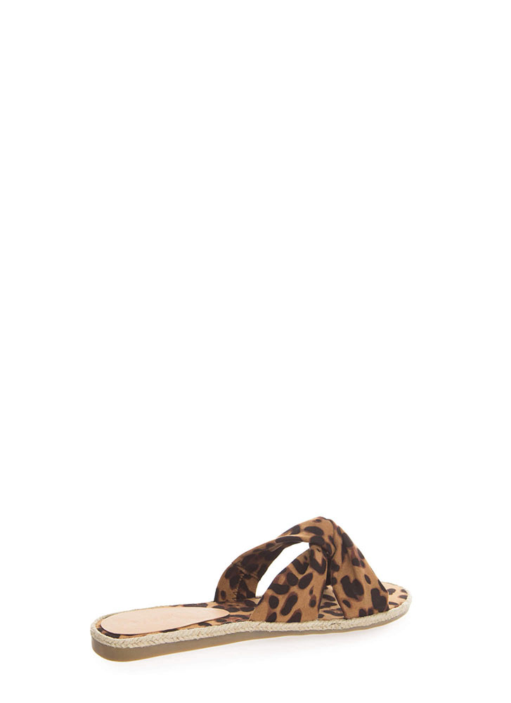 Vacay Braided Knotted Slide Sandals LEOPARD (You Saved $14)