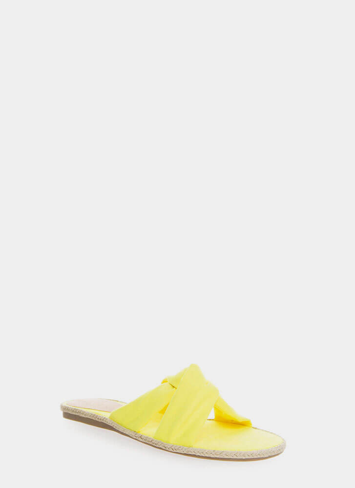 Vacay Braided Knotted Slide Sandals YELLOW