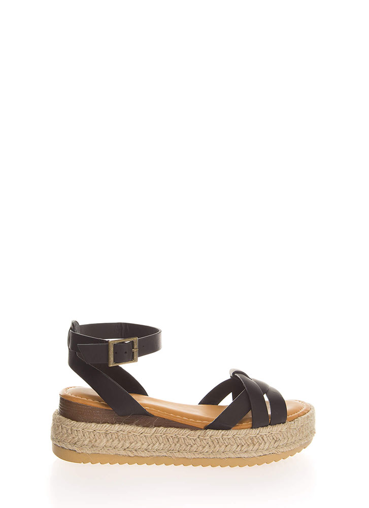 Outing Strappy Braided Platform Sandals BLACK