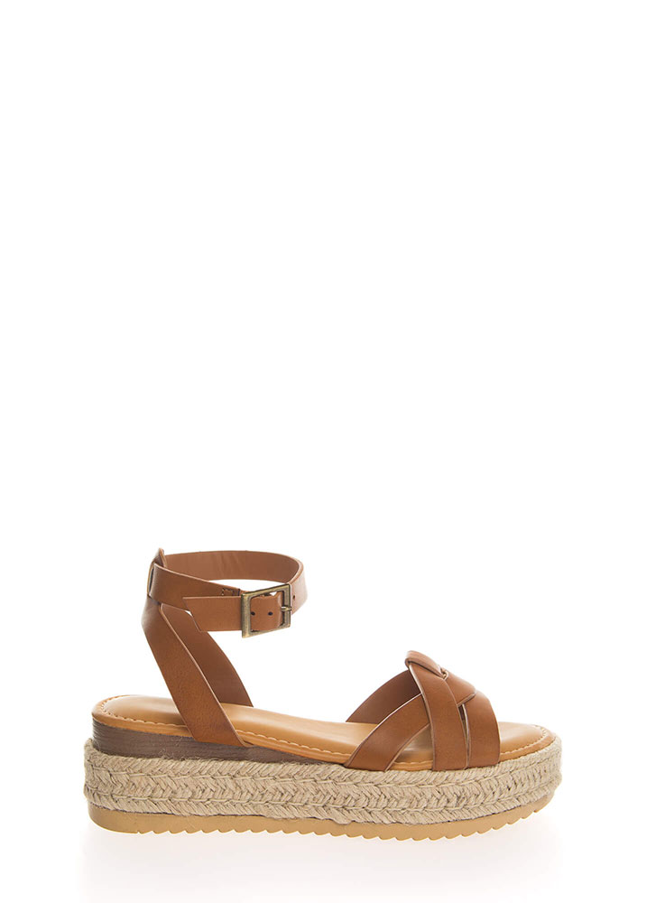 Outing Strappy Braided Platform Sandals TAN (You Saved $16)