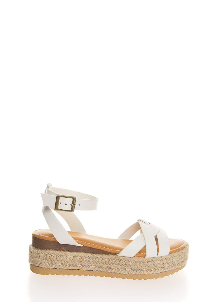 Outing Strappy Braided Platform Sandals WHITE (You Saved $16)