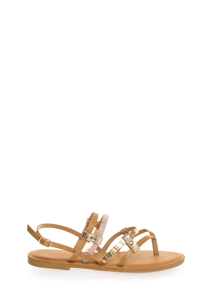 Happy To Be Strappy Thong Sandals NATURAL