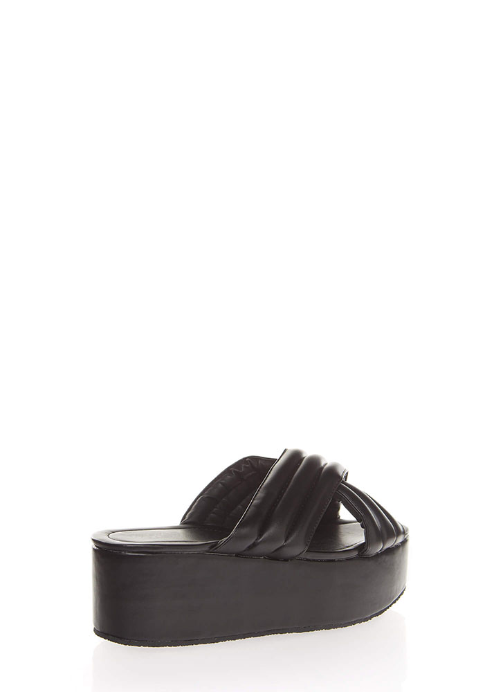 High Elevation Quilted Slide Sandals BLACK (You Saved $19)