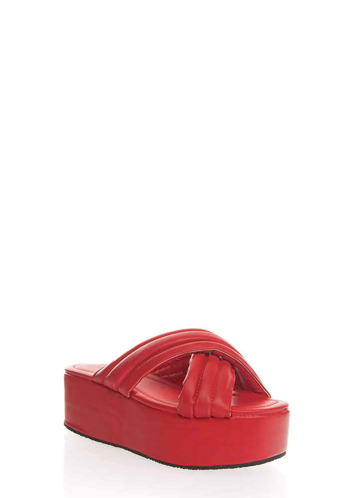 High Elevation Quilted Slide Sandals RED
