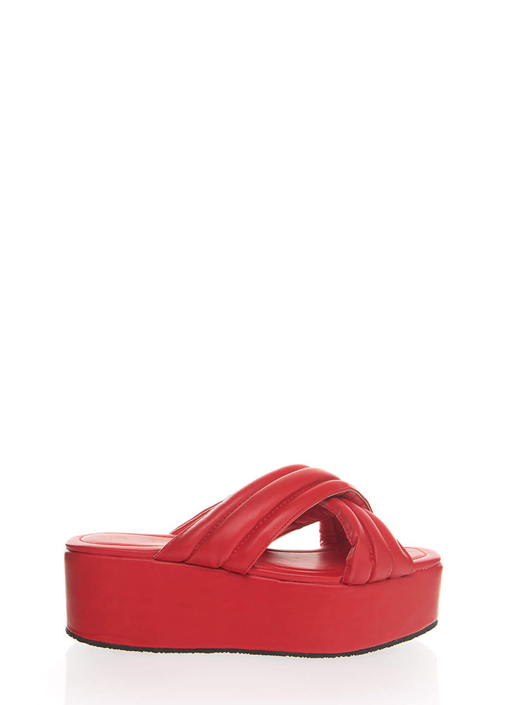 High Elevation Quilted Slide Sandals RED (You Saved $19)