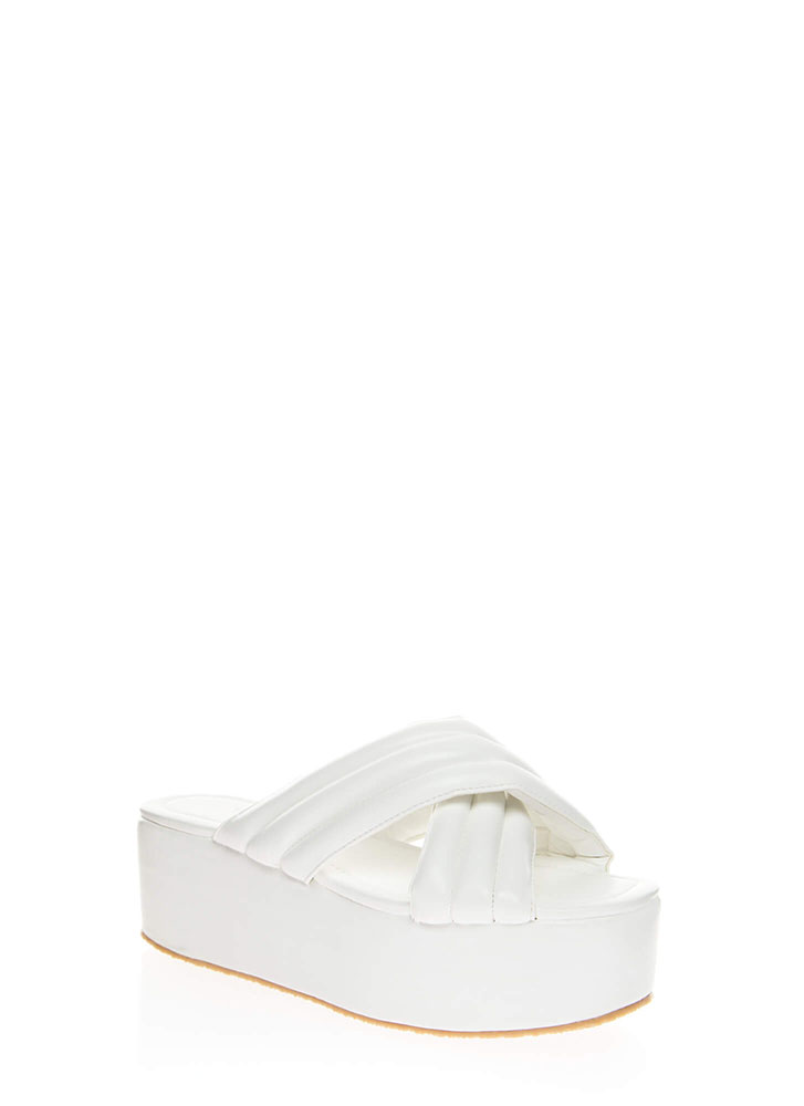 High Elevation Quilted Slide Sandals WHITE