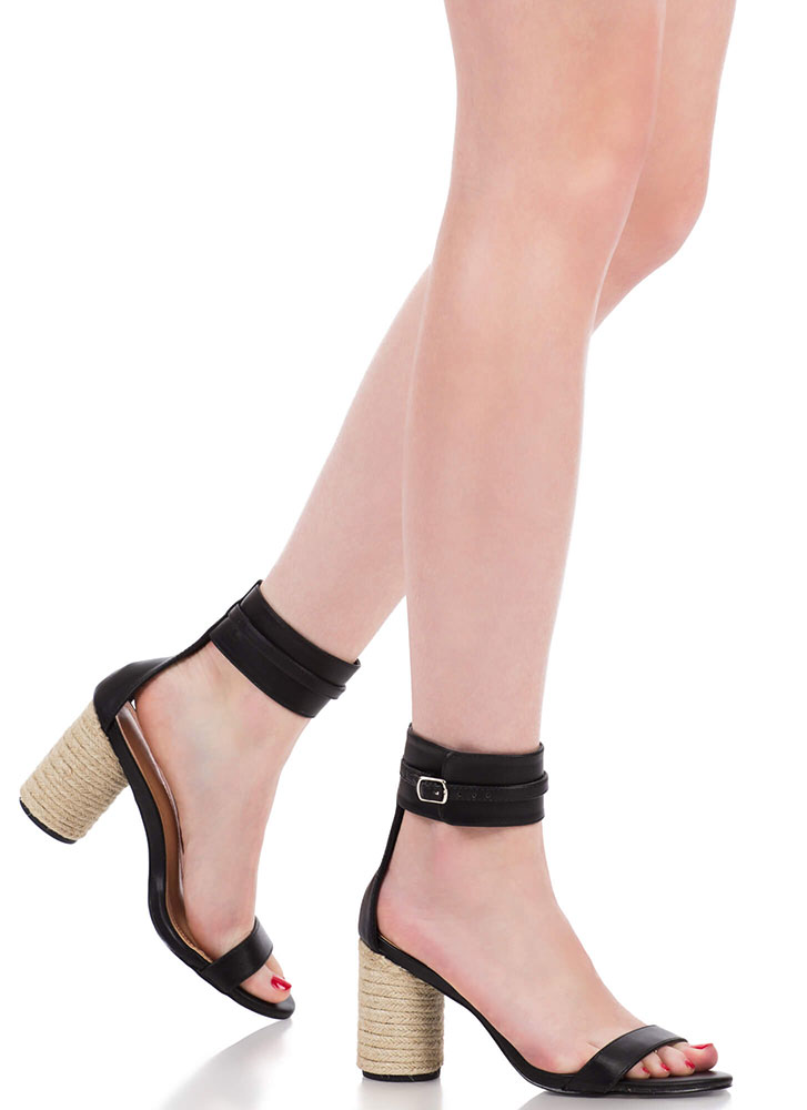 2 Worlds Chunky Braided Ankle Cuff Heels BLACK