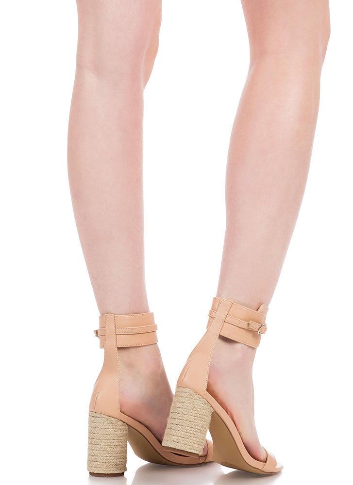 2 Worlds Chunky Braided Ankle Cuff Heels NUDE