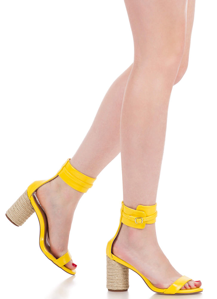 2 Worlds Chunky Braided Ankle Cuff Heels YELLOW