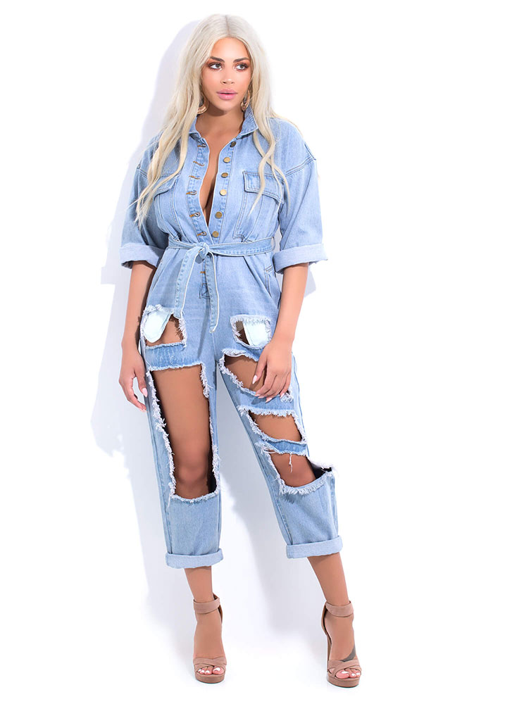 Open To Anything Cut-Out Denim Jumpsuit BLUE