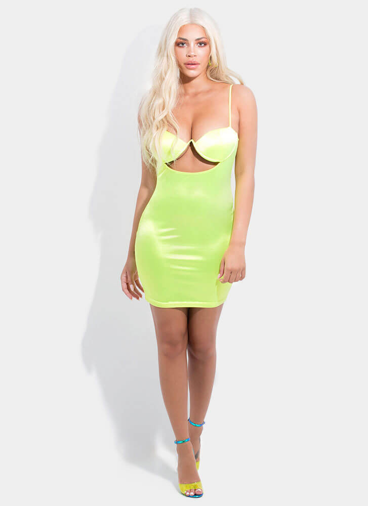 Bust It Out Cut-Out Satin Minidress NEONYELLOW