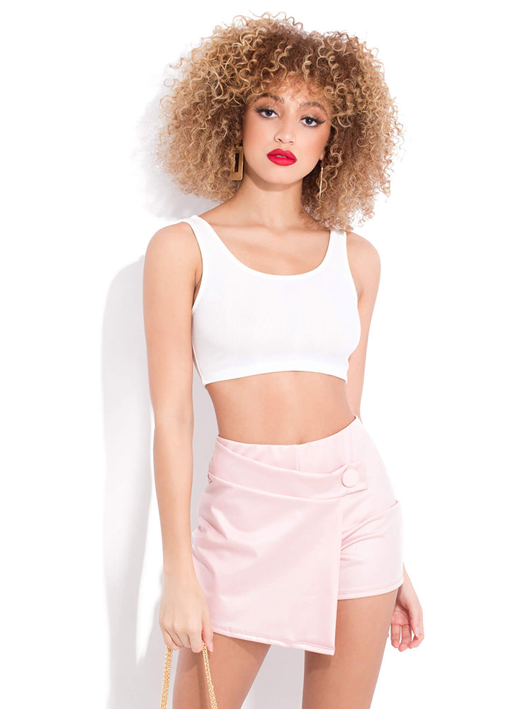 Let's Wrap A Little Faux Leather Skort PINK