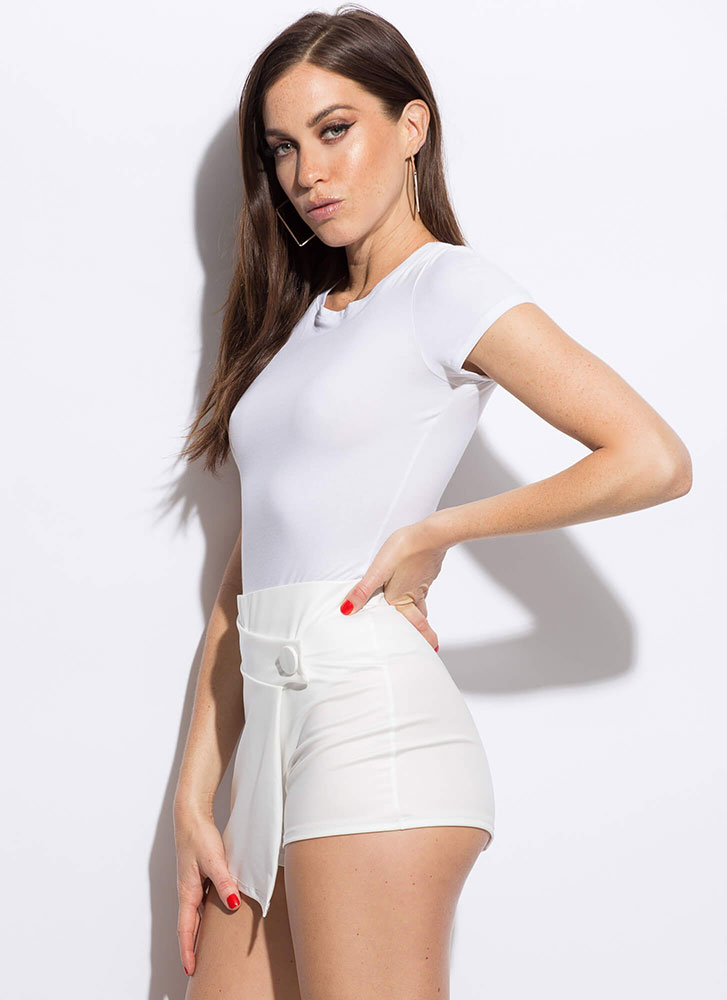 Let's Wrap A Little Faux Leather Skort WHITE