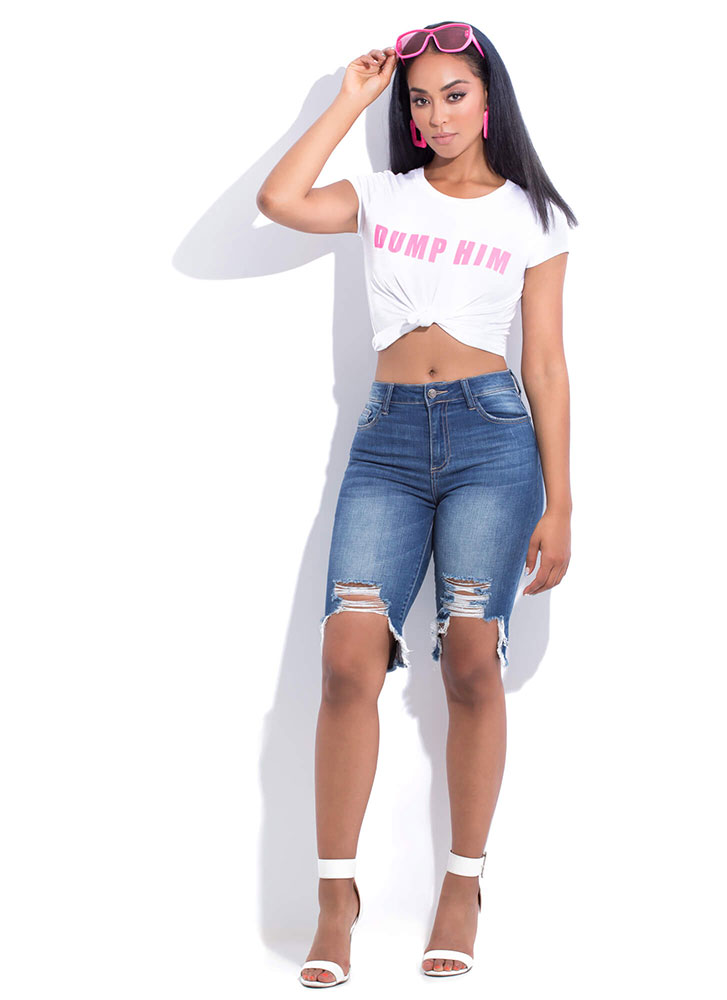 Dump Him Knotted Graphic Crop Top WHITE (You Saved $10)