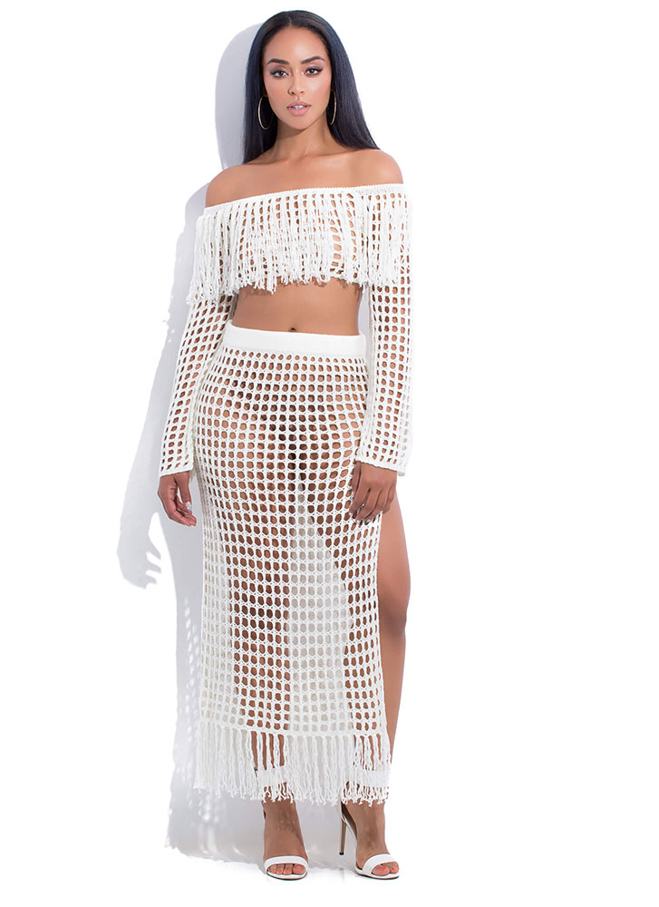 Great Catch Netted Off-Shoulder Set IVORY