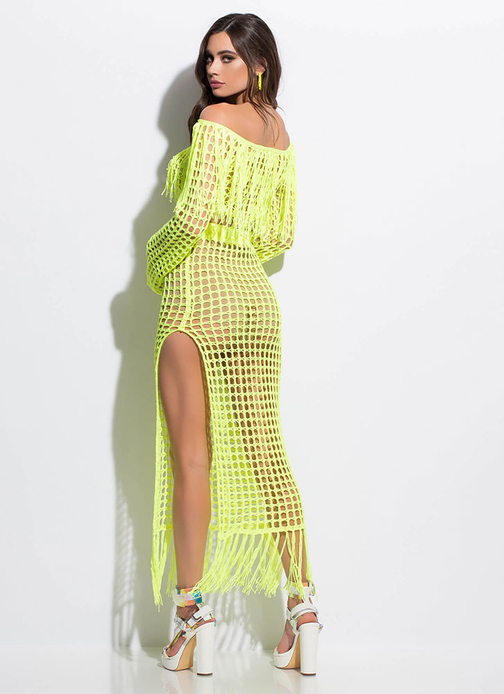 Great Catch Netted Off-Shoulder Set NEONYELLOW