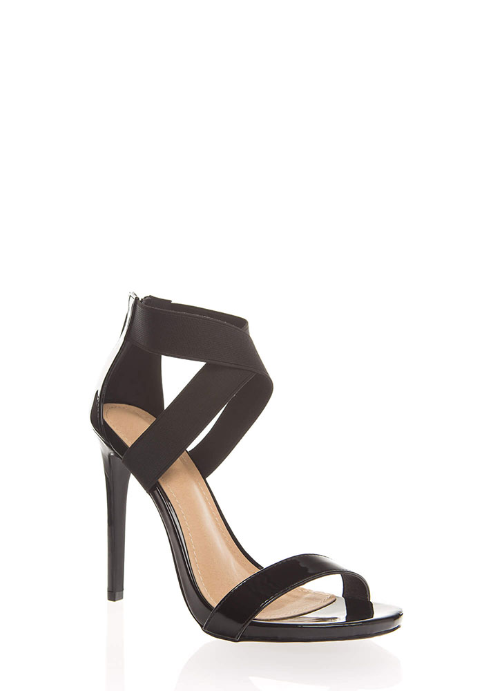 The X Big Thing Strappy Banded Heels BLACK