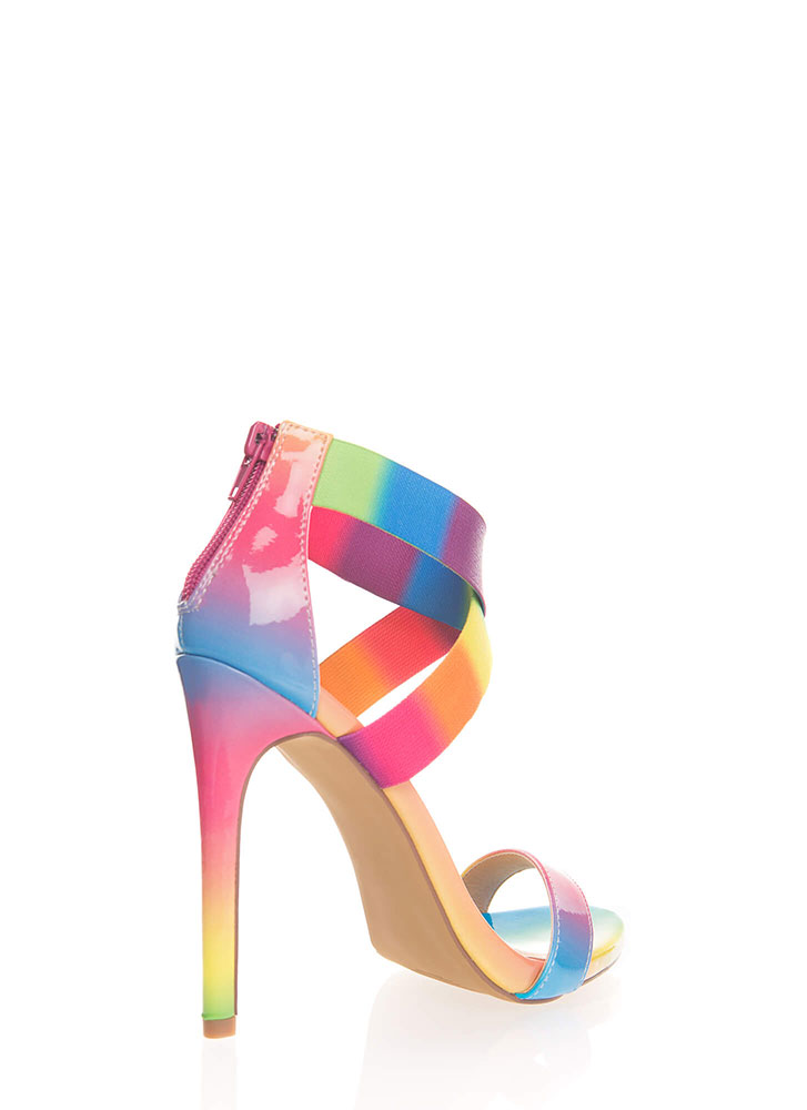 The X Big Thing Strappy Banded Heels RAINBOW (You Saved $23)