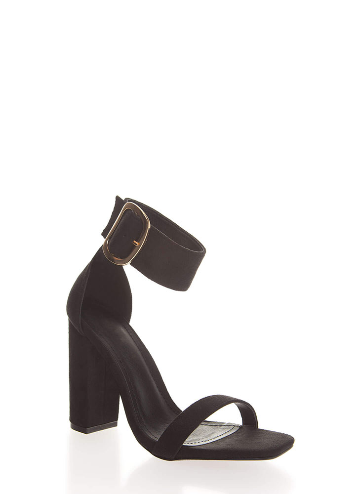 Cuff Love Chunky Faux Suede Heels BLACK