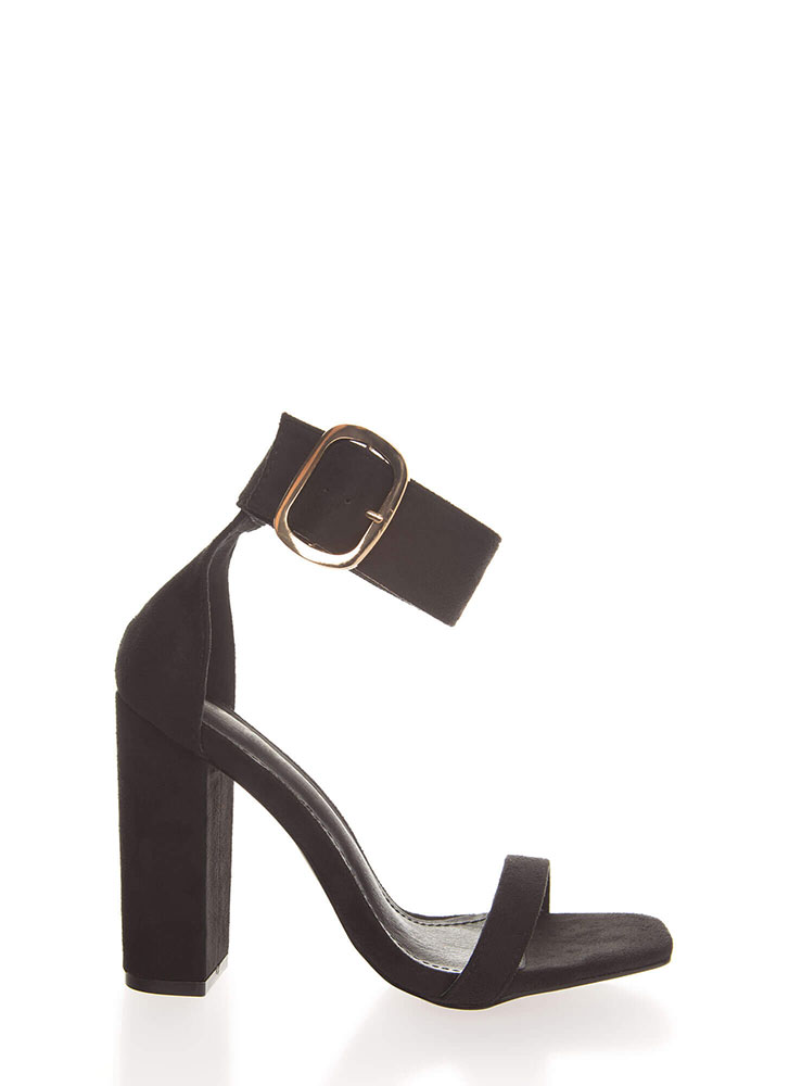 Cuff Love Chunky Faux Suede Heels BLACK (You Saved $22)