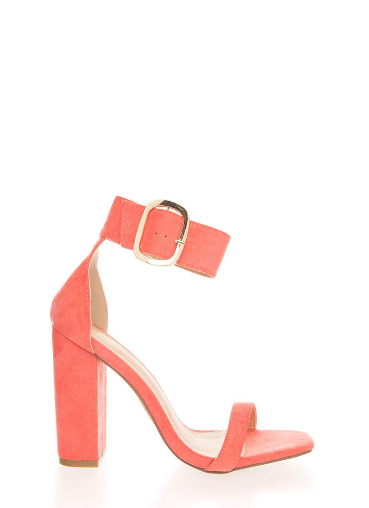 Cuff Love Chunky Faux Suede Heels CORAL