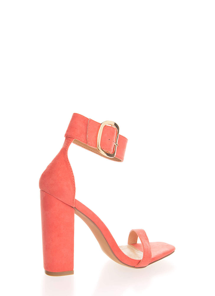 Cuff Love Chunky Faux Suede Heels CORAL (You Saved $22)