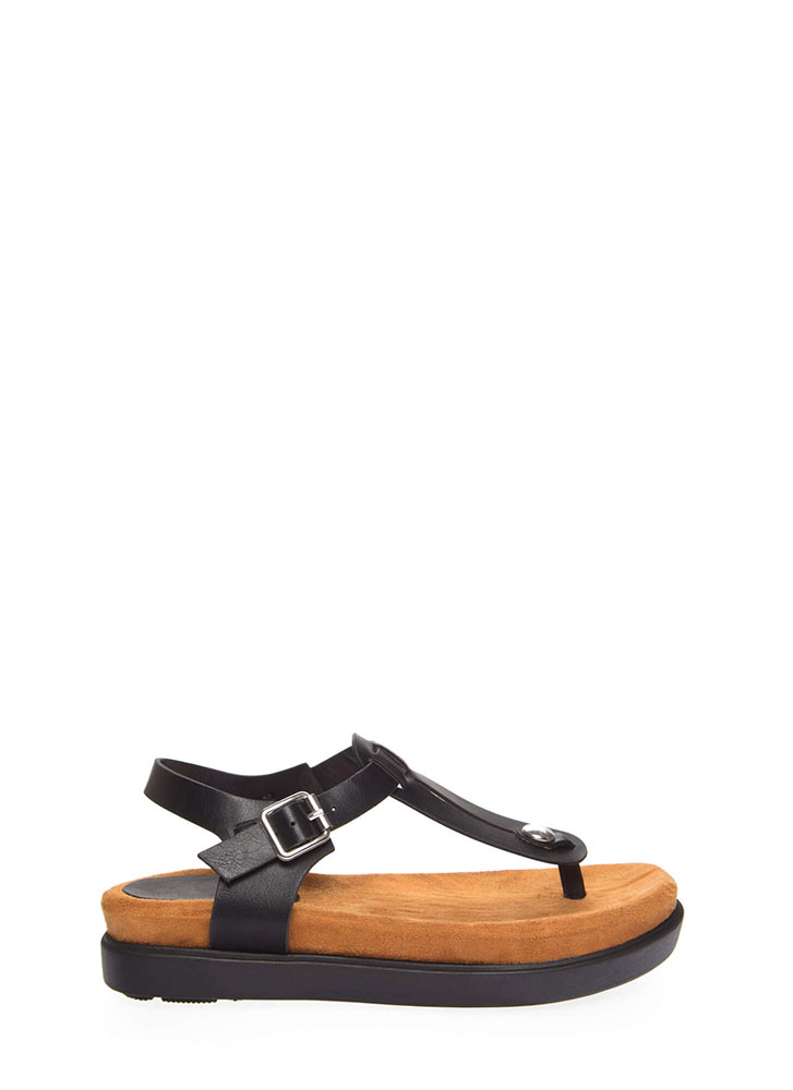 Stacked In My Favor Thong Sandals BLACK