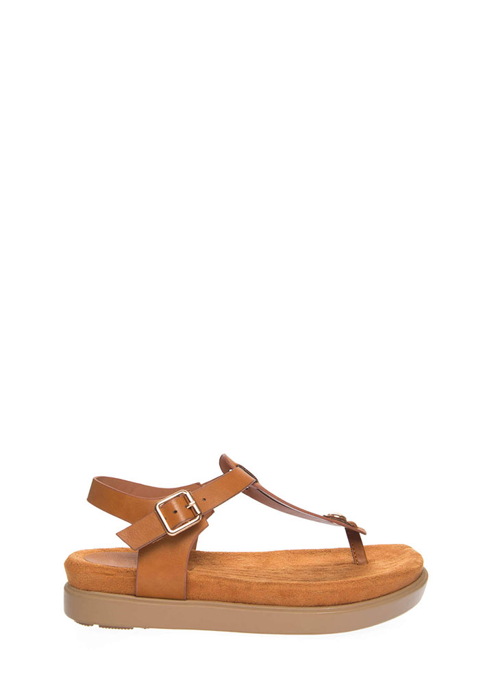 Stacked In My Favor Thong Sandals TAN