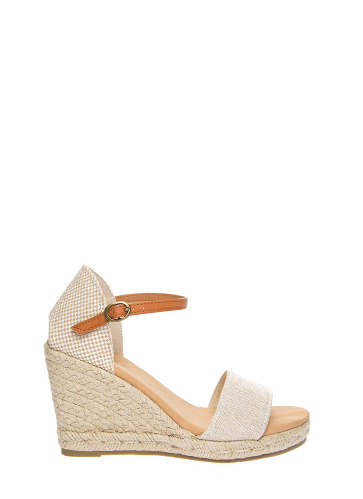 Time Off Strappy Braided Linen Wedges NATURAL