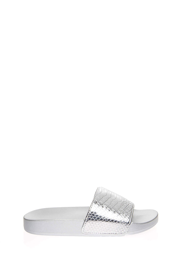 Goodness Snake Metallic Slide Sandals SILVER (You Saved $9)